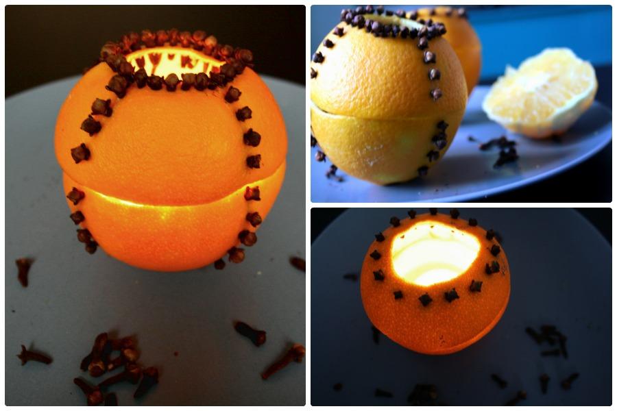 Orangenteelicht mit Nelken