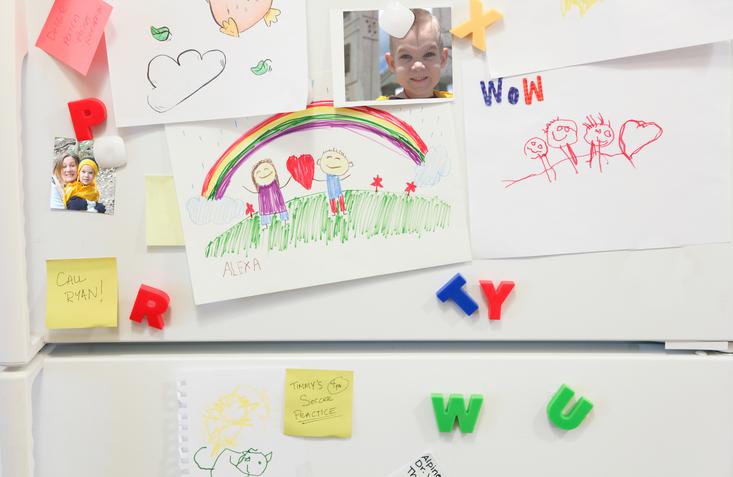 Kühlschranktür mit Bildern und Fotos
