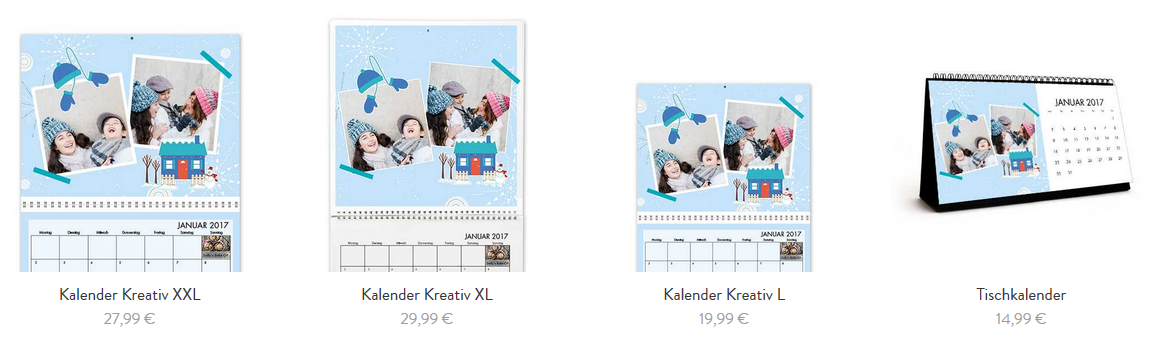 Verscheidene Kalendergrößen online