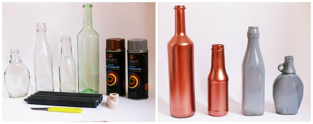 Adventskranz selber machen aus alten Flaschen