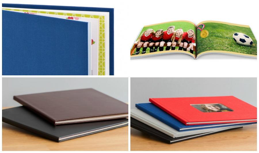 Fotobücher mit unterschiedlichen Einbänden und Formaten