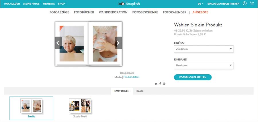 Format und Einband für Fotobuch auswählen