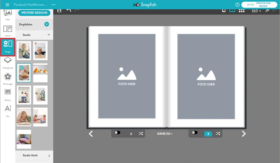 Design für Fotobuch wählen
