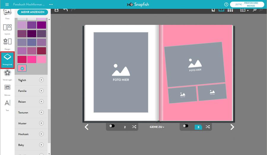 Hintergrund für Fotobuch-Seiten