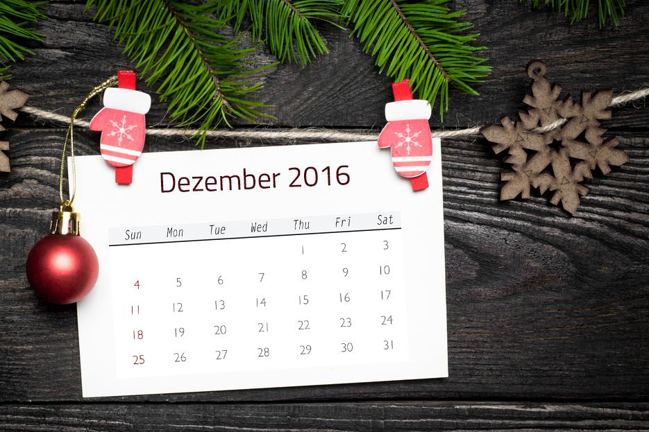 Kalenderdaten im Dezember 2016